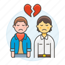 breakup, broken, couple, ending, gay, heart, lgbt, men, relationship, sadness, separation icon