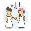 ceremony, couple, dance, hands, hold, lesbian, lesbians, lgbt, lover, marriage, wedding, women icon