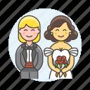 bouquet, ceremony, couple, dress, lesbian, lesbians, lgbt, lover, marriage, suit, wedding, women icon