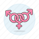 3, and, bisexual, color, female, lgbt, male, pink, symbol, symbols icon