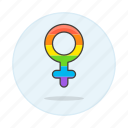 and, color, female, flag, gay, lgbt, pride, rainbow, symbol, symbols icon