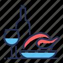 chicken, food, restaurant, wine