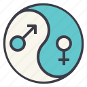 equality, gay, gender, harmony, lgbt, yang, yin icon