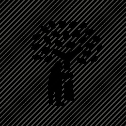 human, nature, park, tree, tree hugger tree hug icon