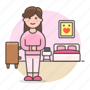 bed, bedroom, cabinet, drawer, female, furniture, girl, lifestyle, pajamas, picture, stlye icon