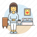 bed, cabinet, girl, picture, bedroom, female, lifestyle, stlye, pajamas, furniture, drawer icon