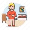 bed, bedroom, cabinet, drawer, furniture, girl, lifestyle, male, pajamas, picture, stlye icon