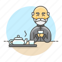 chinese, culture, cup, lifestyle, male, outfit, tea, teapot, time, tradition, tray, yunomi