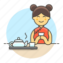 time, teapot, lifestyle, yunomi, tea, tray, culture, female, cup, chinese, outfit, tradition