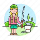 sport, female, trip, fisherman, lifestyle, fishing, bucket, rod
