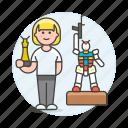 2, builder, building, female, hobby, lifestyle, miniature, mockup, model, modelism, toy icon
