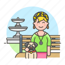 1, 2, bench, dog, female, fountain, lifestyle, lover, park, pet icon