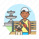 1, 3, bench, dog, fountain, lifestyle, lover, male, park, pet icon