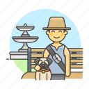 1, bench, dog, fountain, lifestyle, lover, male, park, pet icon