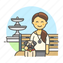 1, bench, dog, female, fountain, lifestyle, lover, park, pet icon