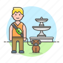 1, 2, dog, fountain, lifestyle, lover, male, park, pet icon