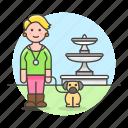 2, dog, female, fountain, lifestyle, lover, park, pet icon