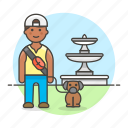 2, 3, dog, fountain, lifestyle, lover, male, park, pet icon