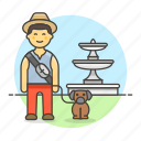 2, dog, fountain, lifestyle, lover, male, park, pet icon