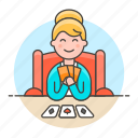 2, card, cards, female, game, hand, lifestyle, playing, poker icon