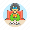 card, cards, female, game, hand, lifestyle, playing, poker icon