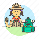 1, backpack, campaign, equipment, explorer, female, hat, lifestyle, neckerchief, scarf, scout icon