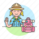 2, backpack, campaign, equipment, explorer, female, hat, lifestyle, neckerchief, scarf, scout icon