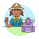 3, backpack, campaign, equipment, explorer, female, hat, lifestyle, neckerchief, scarf, scout icon