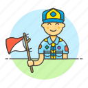 backpack, campaign, equipment, explorer, hat, lifestyle, male, neckerchief, scarf, scout icon