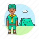 camp, field, scout, explorer, scarf, lifestyle, outdoors, neckerchief, tent, necker, male, camping