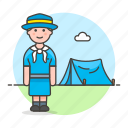 camp, camping, explorer, female, field, lifestyle, necker, neckerchief, outdoors, scarf, scout, tent