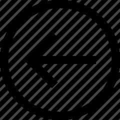 arrow, back, circle icon