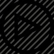 audio, circle, music, play, video icon