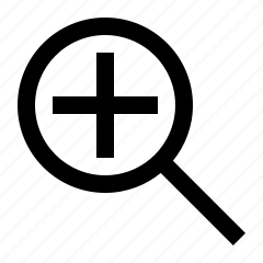 glass, in, magnifying, zoom icon