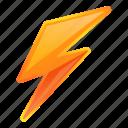 bolt, electric, lightning, orange
