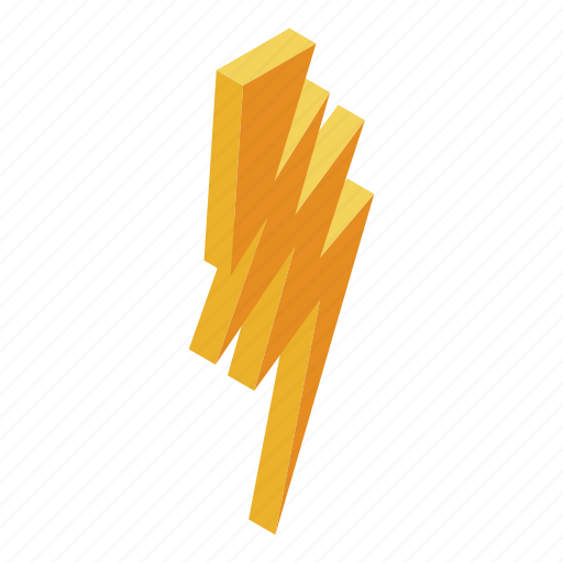 Isometric Bolt Electric Silhouette Cartoon Yellow Logo Icon