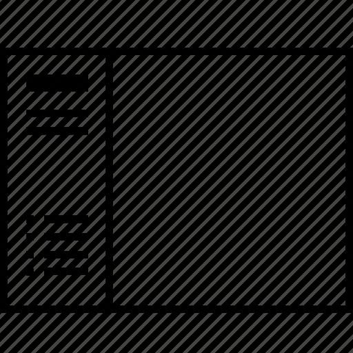layout, sidebar, sitemap, ui, wireframe icon