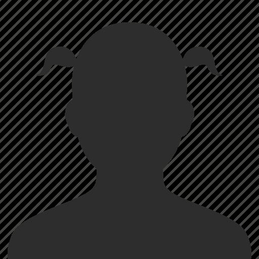 face, female, head, person, profile, silhouette, user, woman icon