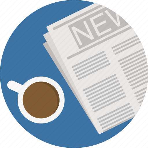coffee, news, newsletter, newspaper, press, read icon