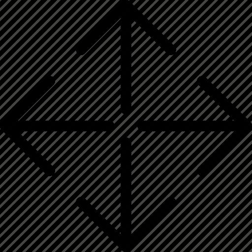 arrow, arrows, direction, full screen, navigation, orientation, zoom icon