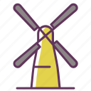 bakery, bread, grain, mill, wind, windmill, windy icon