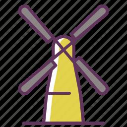 bakery, bread, grain, mill, wind, windmill, windy icon