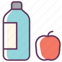 apple, aqua, bottle, drink, food, fresh, water