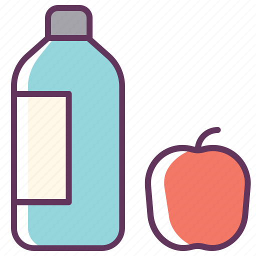 apple, aqua, bottle, drink, food, fresh, water icon