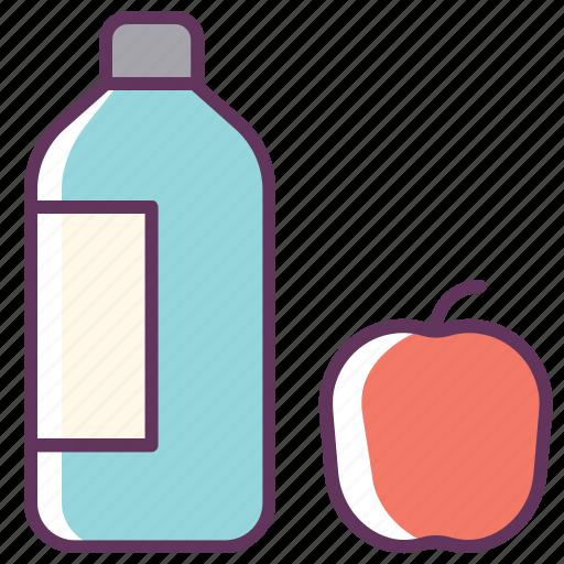 apple, aqua, bottle, drink, food, fresh, water icon