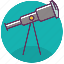 astronomy, glass, optical telescope, sky, stargazing, stars, telescope icon