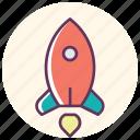 marketing, planet, rocker, space, spaceship, star, starup icon