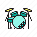 band, drum, drumset, instrument icon