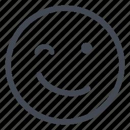 emoticon, happy, nice, smiley, wink icon