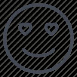 emoticon, hearts, joy, love, smile, smiley icon